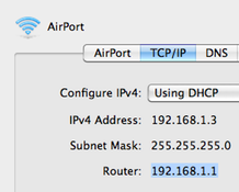 192.168.1.1 in TCP/IP Settings