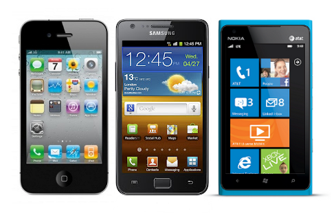 iPhone, Samsung Galaxy S2 and Nokia Lumia 900
